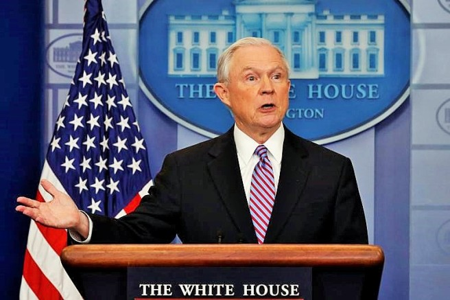 Sessions joins Spicer for the daily press briefing at the White House in Washington